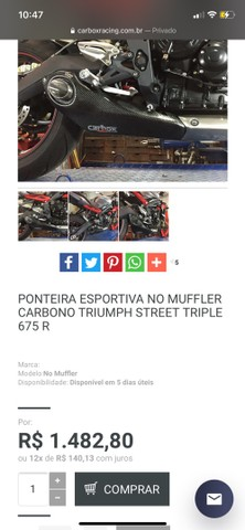 Escape esportivo Street Triple Muffler carbono 675/675R - Foto 3