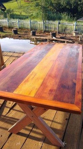 Mesa com bancos madeira demolição peroba rosa a pronta entrega  - Foto 6