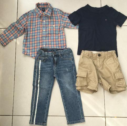 Conjuntos de camisa+calça de 12 a 18 meses Gap e Armani