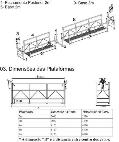 Balancim Manual KTB Plataforma 2 ou 3m com Guincho e Cabo de Aço - Andaime Suspenso - Foto 4