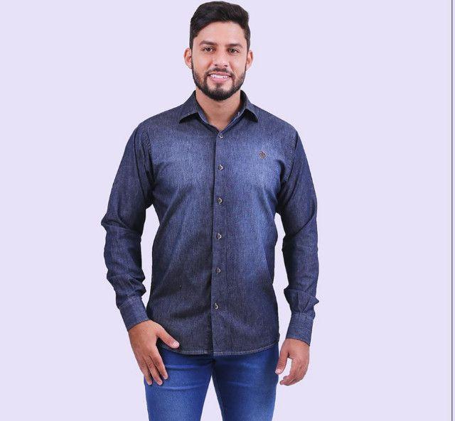 Camisa Jeans Djak Slim Manga Longa Luxuoso Lançamento 2021 Frete Grátis - Foto 3
