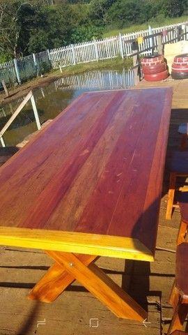 Mesa com bancos madeira demolição peroba rosa a pronta entrega  - Foto 5