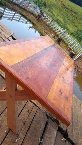 Mesa com bancos madeira demolição peroba rosa a pronta entrega  - Foto 4
