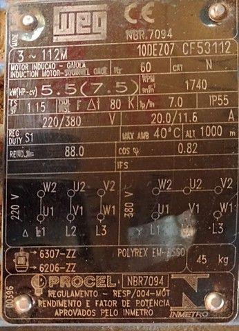 Motor Weg 4 polos 7,5 CV  380 trifásico - Foto 2
