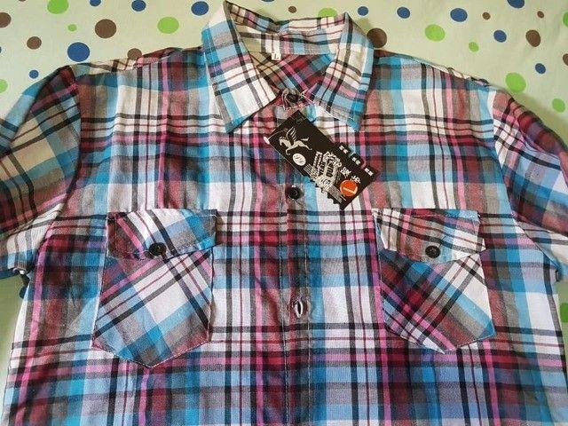 Camisa Polo Xadrez Manga Longa P - Foto 3