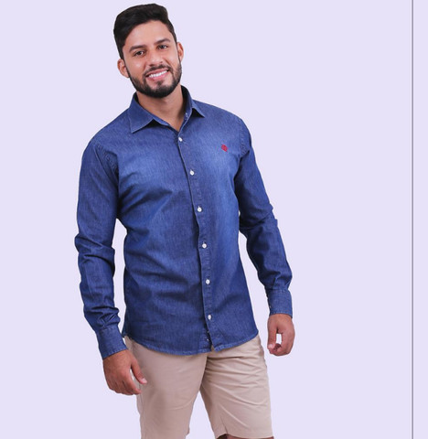 Camisa Jeans Djak Slim Manga Longa Luxuoso Lançamento 2021 Frete Grátis - Foto 2