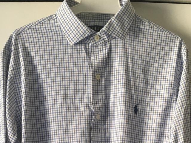 Camisa Polo Ralph Lauren Colarinho Italiano Azul Branca Social Usada ... 1901c02cd3db1