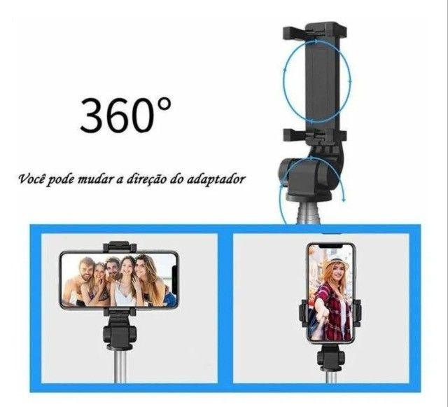 Tripé Bastão Pau De Selfie 360º Suporte Com Controle Bluetooth - Foto 2