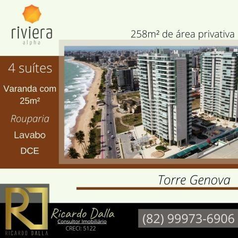 Beira-mar de Maceió, Ed. Riviera, 258m², com varanda gourmet de 25m², área de lazer comple