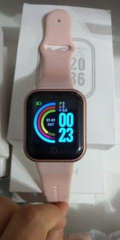 Relogio Smartwatch Y68 D20 Android Ios Rosa - Foto 6