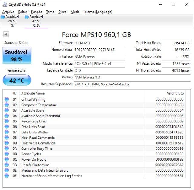 SSD Nvme 960GB Mp510 Corsair - Foto 2