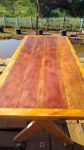 Mesa com bancos madeira demolição peroba rosa a pronta entrega  - Foto 3