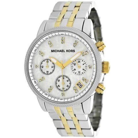 Relógio Michael Kors Mk5057 Ritz Two-tone Chronograph Mother Of Pearl