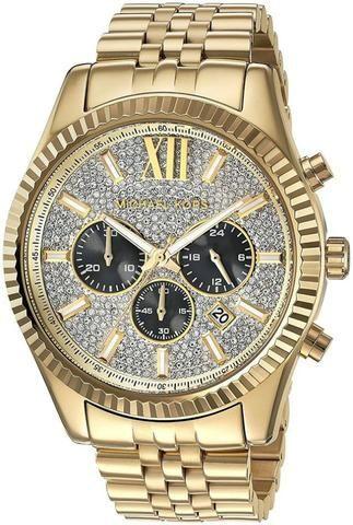 Relógio Michael Kors MK8494 Lexington Goldtone Crystal Pave
