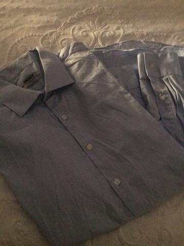 Camisa Dkny TAM 3 azul claro slim - Foto 2