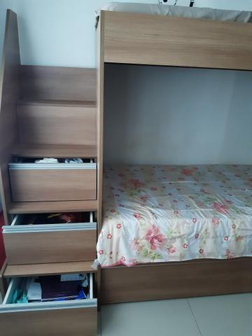 Beliche com cama auxiliar e três colchões - Foto 2