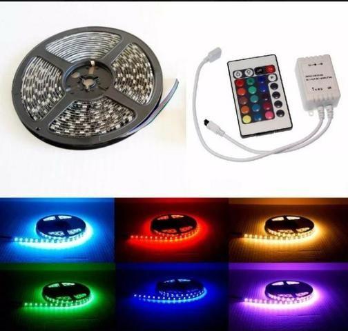 Fita led RGB rolo 5M com controle - decoração natal - Foto 4