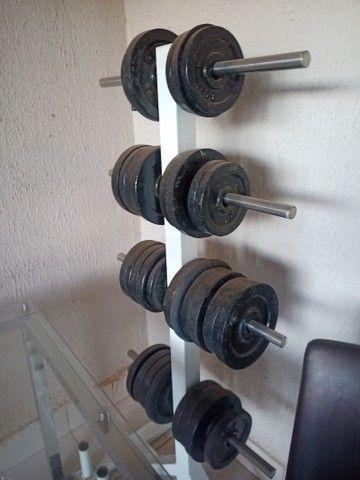 Ilha de musculação Vision Fitness completo + pesos e suporte - Foto 4