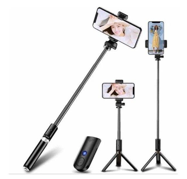 Tripé Bastão Pau De Selfie 360º Suporte Com Controle Bluetooth - Foto 3