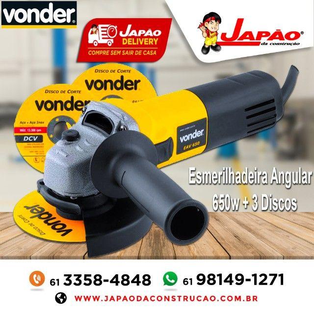 Esmerilhadeira Angular 650W + 3 Discos Vonder Garantia de 1 Ano