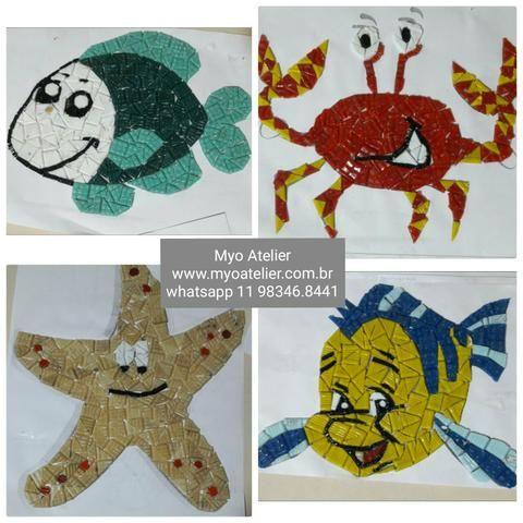 Piscina, Peixe, caranguejo, siri, Mosaico, fundo de piscina