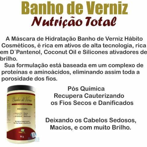 3 Máscara Hidratante Nutrição Total Banho de Verniz Hábito Cosméticos Maciez Brilho 001 - Foto 2