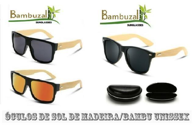 df400cdc0 Óculos De Sol De Madeira/Bambu Unissex - Bijouterias, relógios e ...