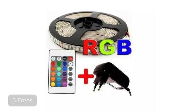 Fita led RGB rolo 5M com controle - decoração natal - Foto 3