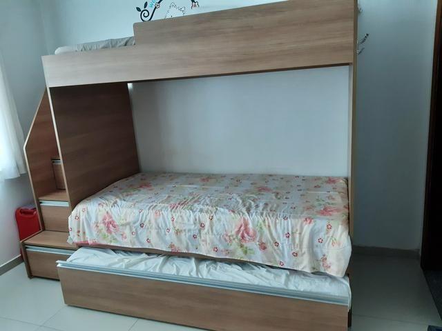 Beliche com cama auxiliar e três colchões - Foto 3