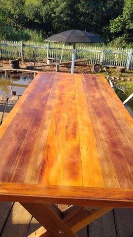 Mesa com bancos madeira demolição peroba rosa a pronta entrega