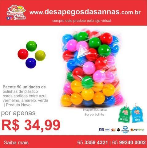 Pacote com 50 Bolinhas de Plástico para Piscina em Cores Sortidas Produto Novo