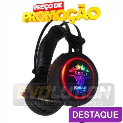 Fone De Ouvido Headset Game Usb Microfone Knup Kp-401 Novo