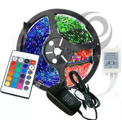 Fita led RGB rolo 5M com controle - decoração natal