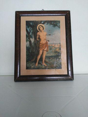 Antigo quadro com a imagem de São Sebastião de 1950