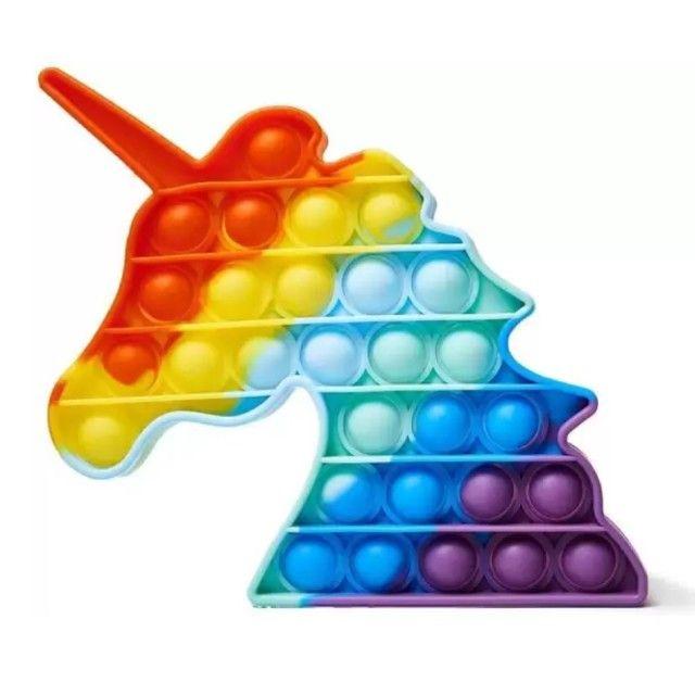 Pop It Fidget Toy Bubble Unicório Colorido - Foto 3
