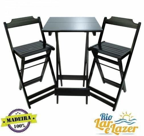 mesa madeira estilo bistro com 2 cadeiras  - Foto 4
