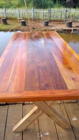 Mesa com bancos madeira demolição peroba rosa a pronta entrega  - Foto 2