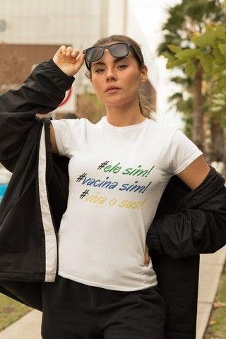 camisa bolsonaro feminina branca ele sim apoio ao presidente - Foto 3