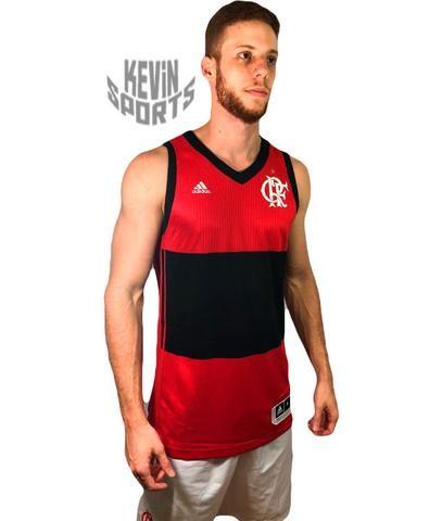 9b34e95eee Regata Basquete Original Flamengo Adidas Rubro-negra 2017 Jogador ...