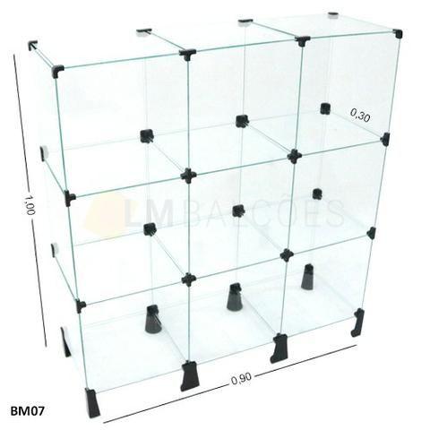 Balcao de vidro Modular 0,90 x 1,00 x 0,30 frete e Montagem Gratis