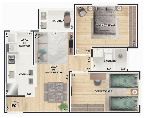 Square Residence Aptos 53m2 2 Dorms Varanda Gourmet Churrasqueira 1 Vaga Lazer Completo - Foto 17