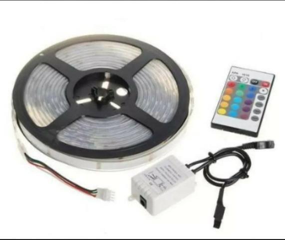 Fita led RGB rolo 5M com controle - decoração natal - Foto 5