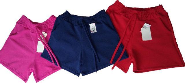 Short Crep 3 uni - Azul, Rosa, Vermelho - Tam.G
