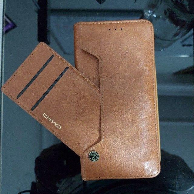 ´capa celular samsung s7 edge com porta cartões - semi novo - única unidade