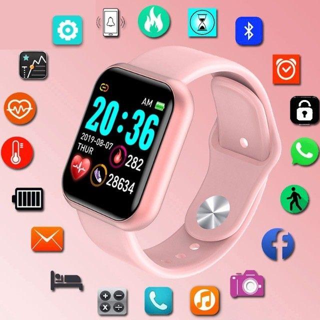 Relogio Smartwatch Y68 D20 Android Ios Rosa - Foto 2