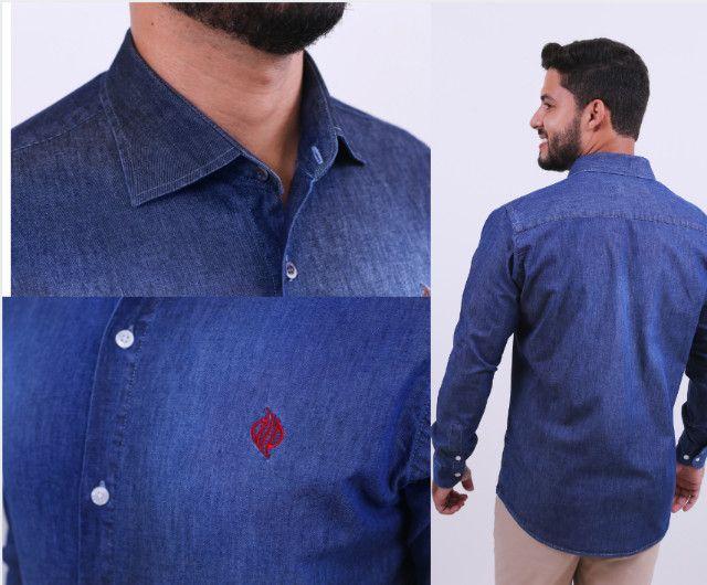 Camisa Jeans Djak Slim Manga Longa Luxuoso Lançamento 2021 Frete Grátis - Foto 5