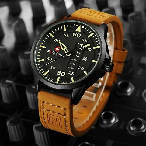 a2bdd25771f Relógio masculino naviforce modelo de luxo original pulseira de couro  importado