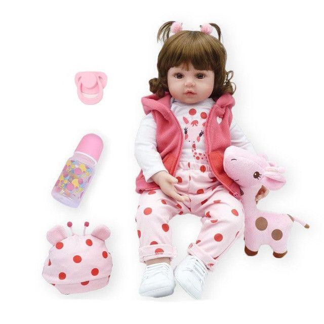 Bebê Reborn Boneca Realista 100% Silicone Girafa Criança