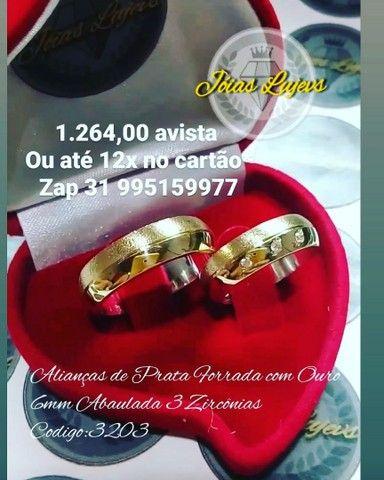 Noivado casamento prata forrada com ouro 18k