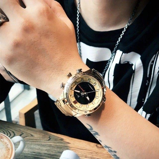 Relógio Masculino Naviforce Aviador 9093 Dourado Original a Prova D´agua - Foto 2
